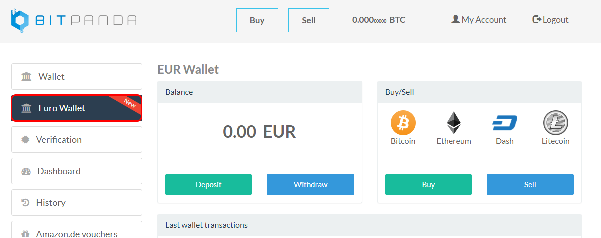 How to buy sell and store cryptocurrencies with bitpanda step 1 click on euro wallet on the left sidebar ccuart Image collections