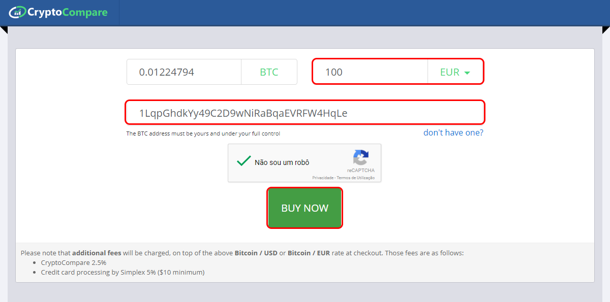 How to buy bitcoin from cryptocompare usd euro accepted type the amount you want to buy you can write on the btc gap or on the usdeuro gap your bitcoin address on the field below and press buy now ccuart Image collections