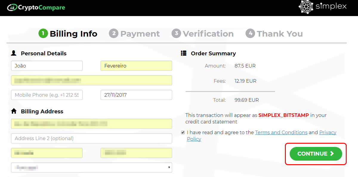 How to buy bitcoin from cryptocompare usd euro accepted step 3 fill the gaps with your personal information once you finish agree with the terms and conditions and privacy policy and press continue ccuart Image collections