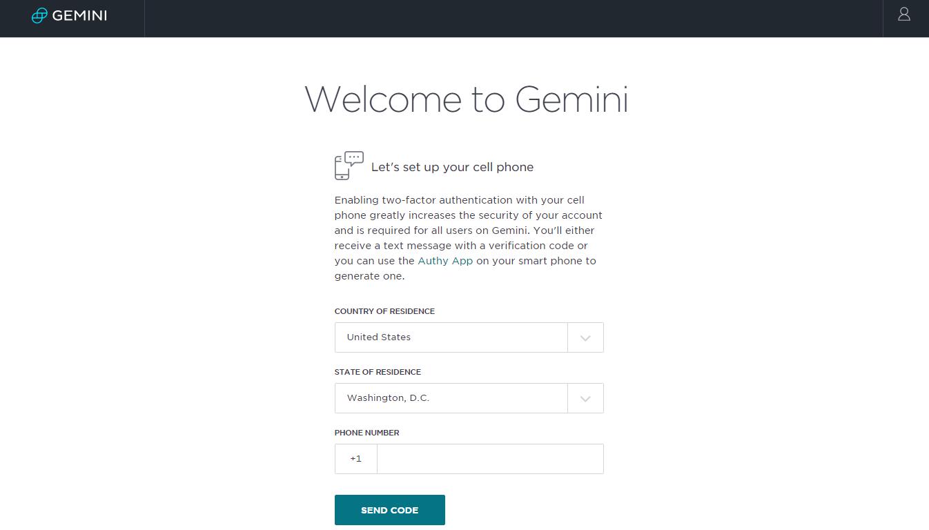 Gemini Exchange Registration Process