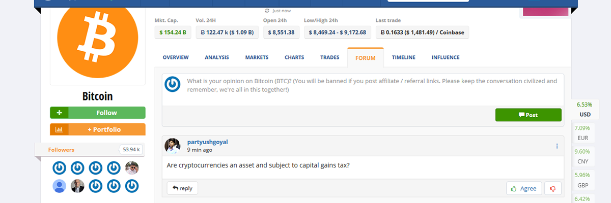 How to use CryptoCompare forums? | CryptoCompare com