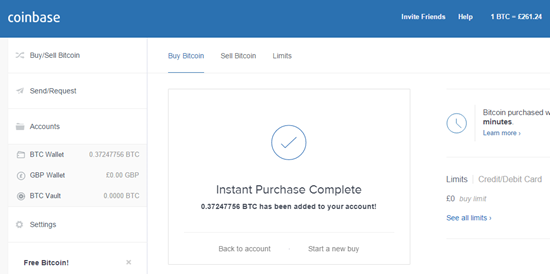 coinbase confirmation of bitcoin purchased