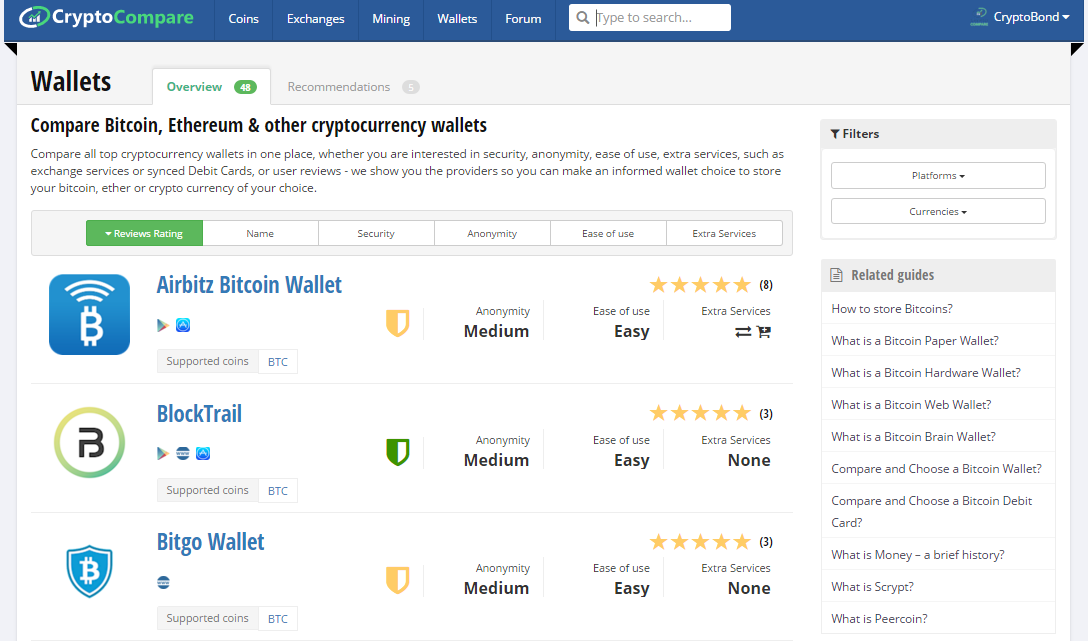 bitcoin and ETH wallets comparison ranking